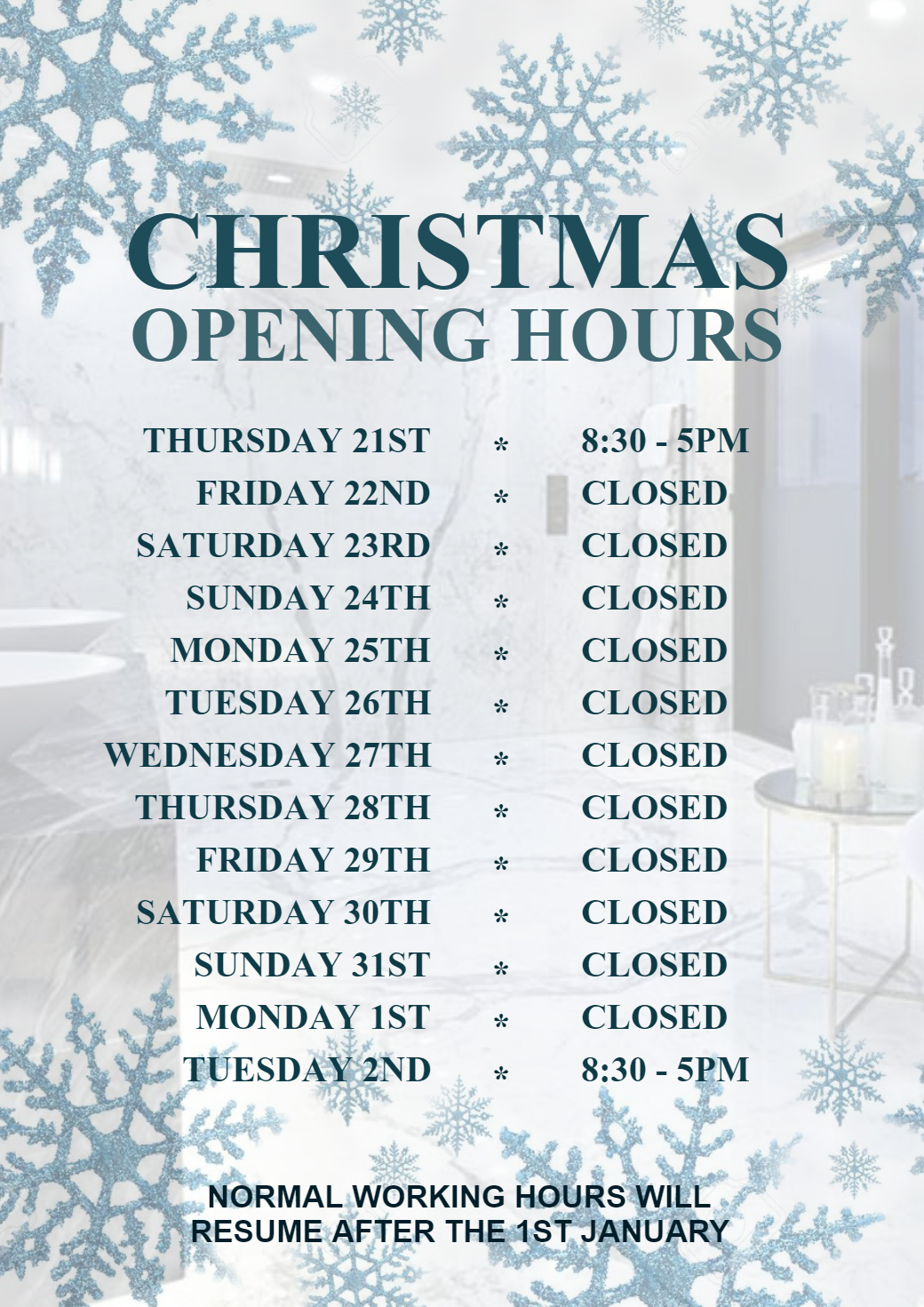 CHRISTMAS CLOSING HOURS